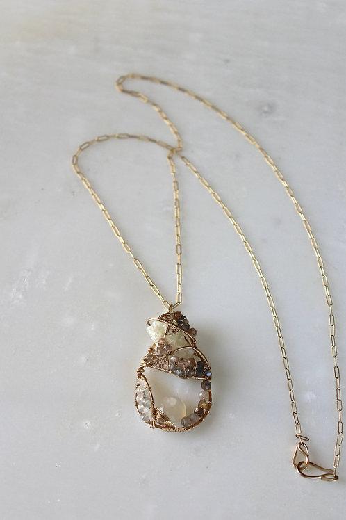 Prehnite and Moonstone wrapped pendant
