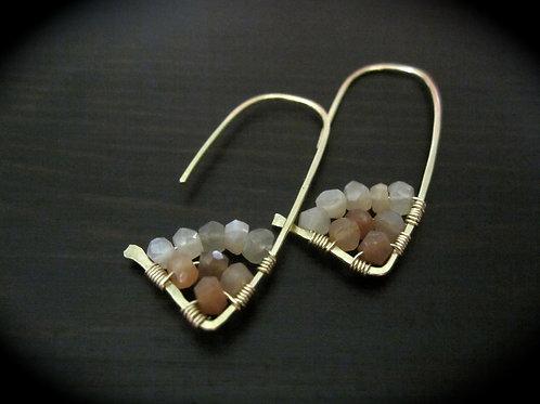 Amiti Short Earrings in Peach Moonstone