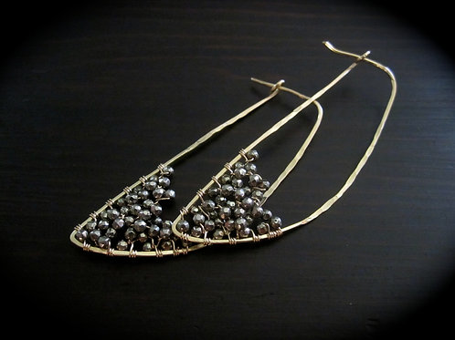 Crescent Earrings in Pyrite