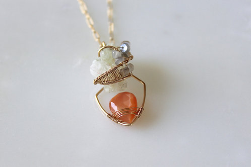 Peach Moonstone and Prehnite Mini Pendant