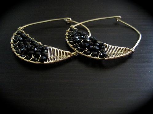 Crescent Hoop Earrings in Spinel