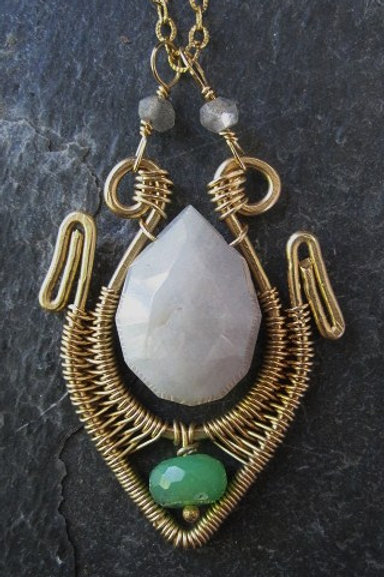Amazonite and Chrysophrase small grecian pendant