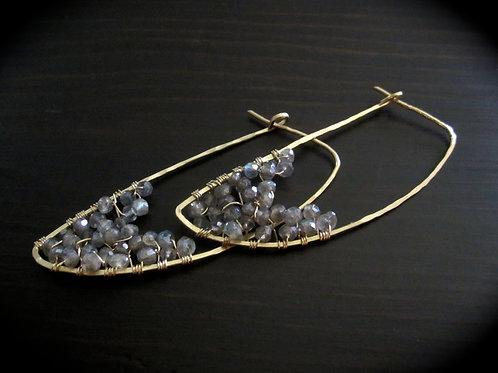 Crescent Earrings in Labradorite