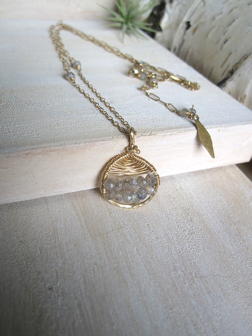 Half Moon Medallion Necklace in Labradorite