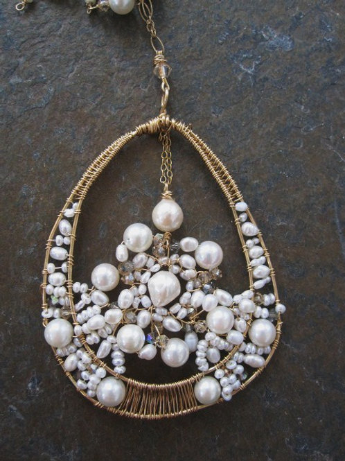 Freshwater and cultured Pearl Cluster pendant