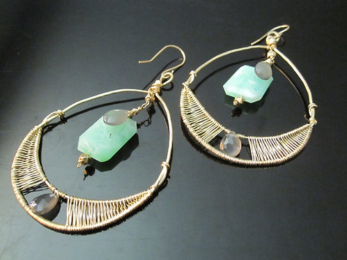 Chrysophrase and Grey Moonstone Statement earrings