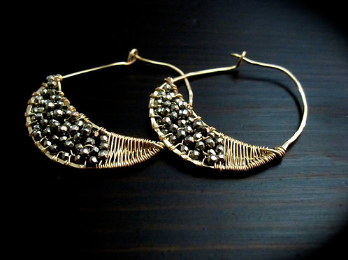 Crescent Hoop Earrings in Pyrite