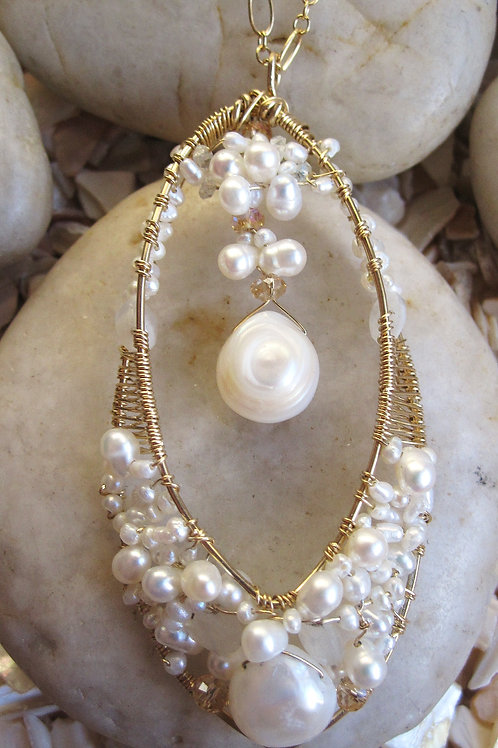 Freshwater Pearl and Moonstone Bridal Pendant