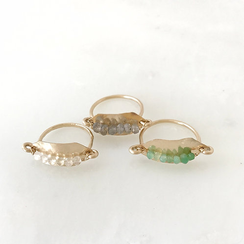 Hammered Bar Ring with gemstone clusters