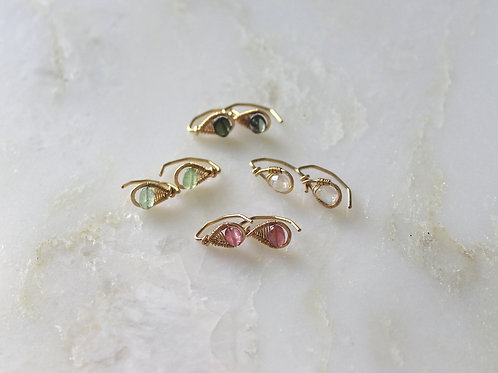 Set of 5 pull through studs in Gem choices