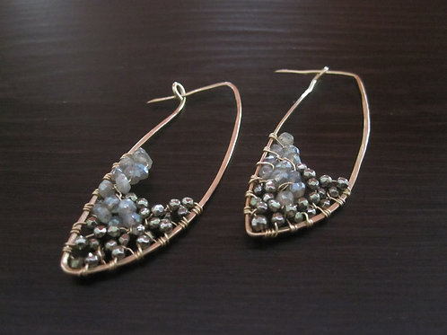 Crescent Pyrite and Labradorite  Earrings