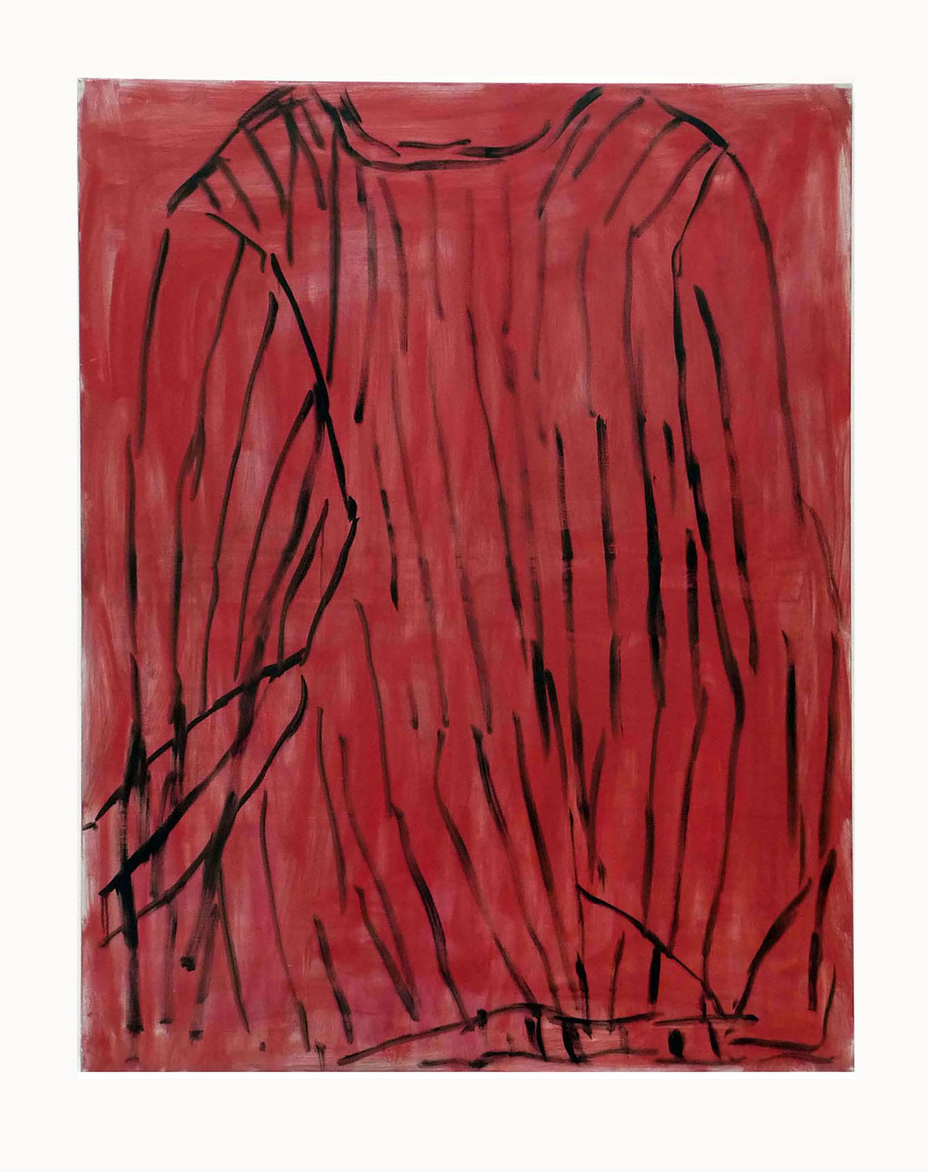 08-le pull rouge dans l'atelier-2011-huile sur toile-146x114cm