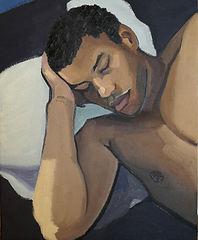 Sophia Fassi, Portrait de jeune homme endormi, 2021, huile sur toile, 50cm x 40cm.jpg
