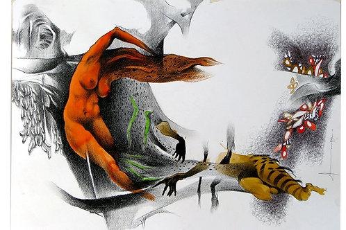 abstract, figure, orange, grey, white