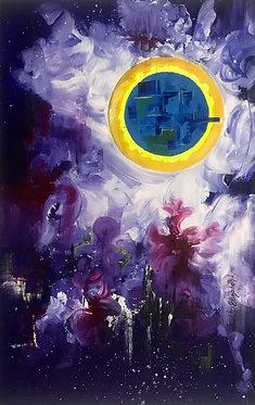 Purple Acrylic sun painting