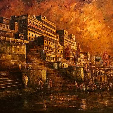 varanasi ghat, ganges, orange sky, spaula art, evening scene