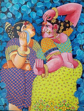 Indian women, sari, yellow, green, blue, purple, pink