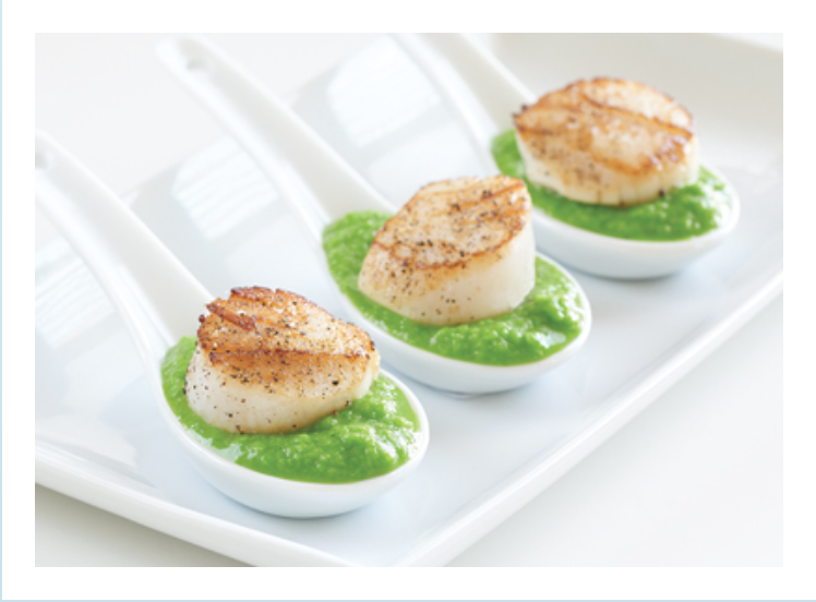 Scallops with Minted Pea Puree