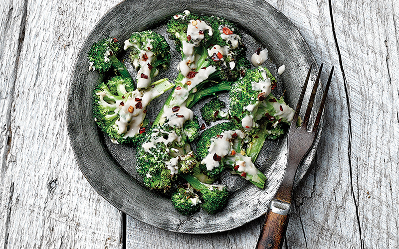Creamy Hummus Grilled Broccoli