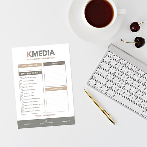 Social Media Checklist Notepad