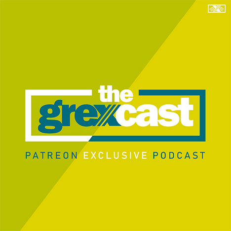 "The Grexcast Cover. The background is divided diagonally, with one side a lime green, and the other side slightly more yellow. In the center is the grexly logo (teal word grexly in lowercase sans serif font with three negative lines running through the x diagonally) but this adds the word ""cast"" to the end in white. It is outlined in a box and underneath says ""patreon exclusive podcast."""
