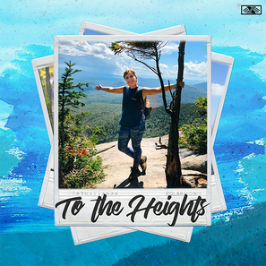 """To the Heights Cover. Olivia Colombo, on the summit of mountain, edited with a polaroid border and blue watercolor background. The polaroid is label """"To the Heights."""""""