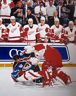 Chris Osgood vs. Patrick Roy 1998 Fight Photo
