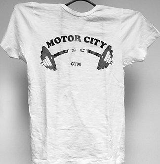 White Ladies Burnout Barbell T-Shirt