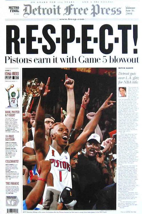 Detroit Pistons 2004 Detroit Free Press Poster