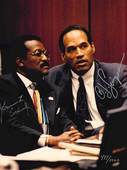 OJ Simpson & Johnnie Cochran Autographed Courtroom Photo