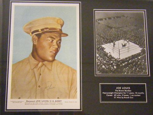 Joe Lewis Autographed Military Photo Piece