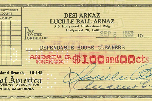 Lucille Ball Arnaz Signed Check