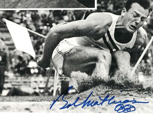 Bob Matthias Autographed Long Jump Photo