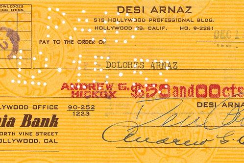 Desi Arnaz Autographed Check