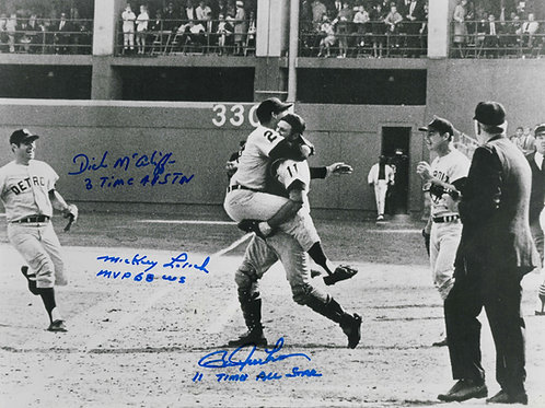 Bill Freehan, Mickey Lolich, and Dick McAuliffe Autographed Photo