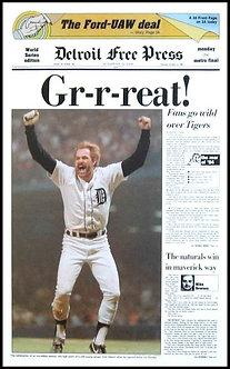 """Gr-r-reat!"" 1984 Detroit Tigers Free Press Poster"