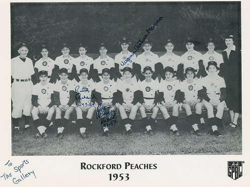 Rockford Peaches Team Photo Autographed with Three Autographs