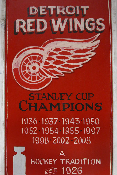Red Wings Wooden Sign