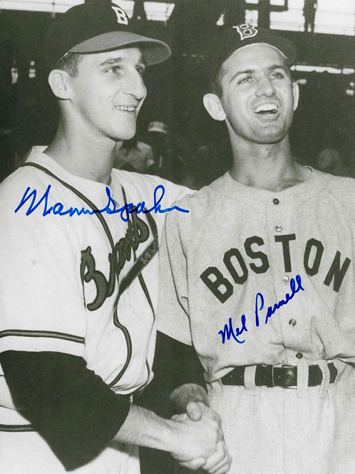 Warren Spahn and Mel Parnell Dual Signed 8x10 Photo