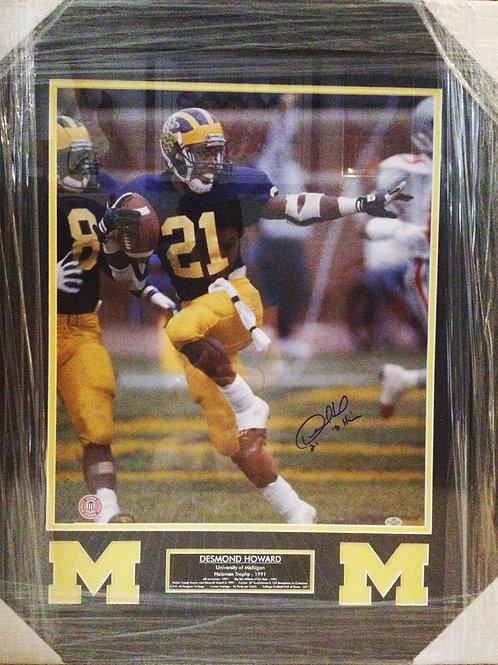 Desmond Howard Michigan Signed Photo, Framed