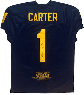 "Anthony Carter Limited Ed. Michigan ""Stats"" Jersey"