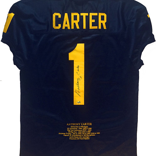 """Anthony Carter Limited Ed. Michigan """"Stats"""" Jersey"""