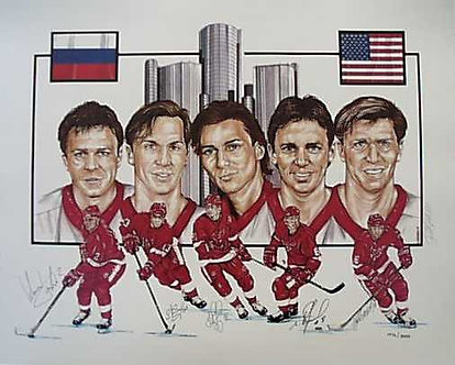 Russian Five Autographed Lithograph