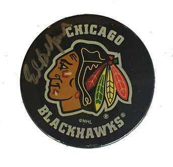Ed Balfour Chicago Blackhawks Signed Puck
