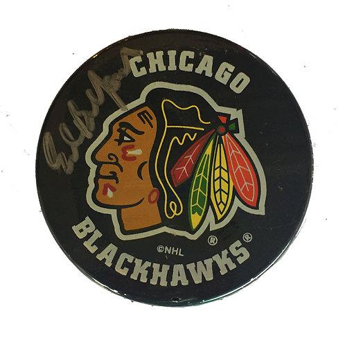 Ed Balfour Chicago Blackhawks Signed Puck