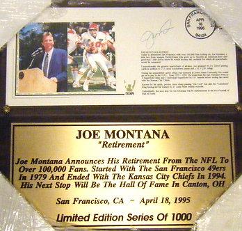 "Joe Montana LIMITED EDITION plaque, 13"" X 11"""