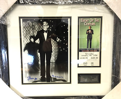 Goerge Burns Autographed Picture with Ticket