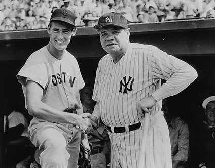 Babe Ruth and Ted Williams Photo - Black & White