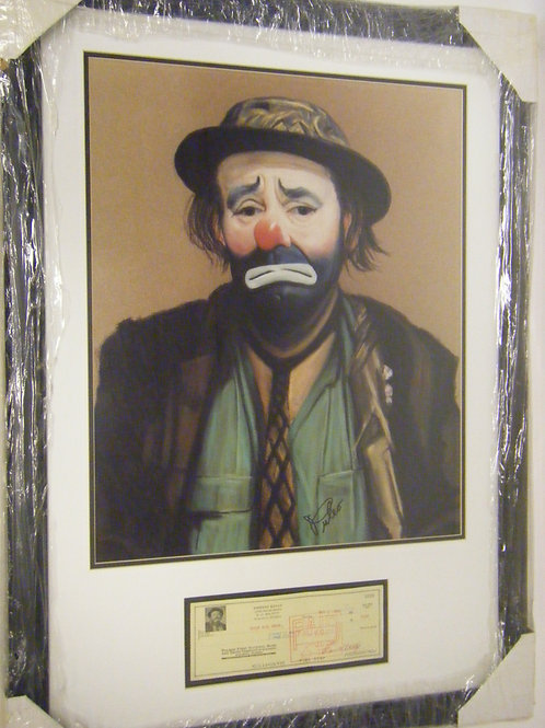 Emmett Kelly Photo with Signed Check