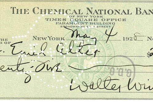 Walter Winchell Signed Check